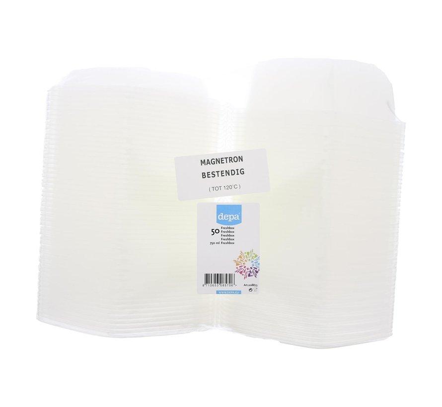 Depa Freshbox transparant 750 ml magnetronbestendig tot 120¡C, 50 stuks