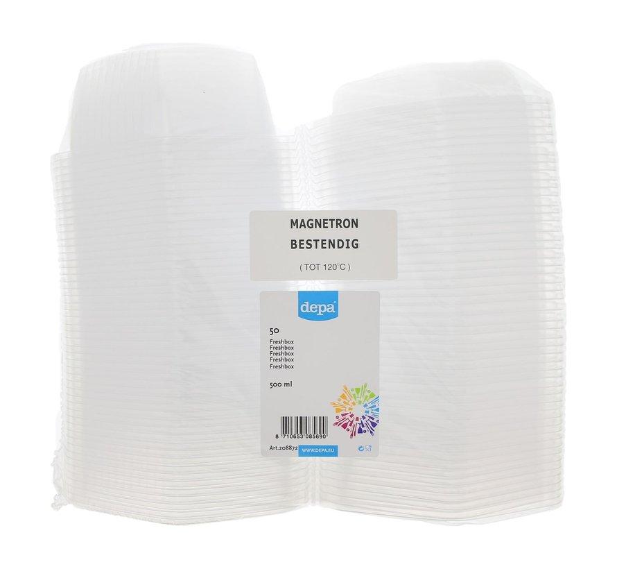 Depa Freshbox transparant 500 ml magnetronbestendig tot 120¡C, 50 stuks
