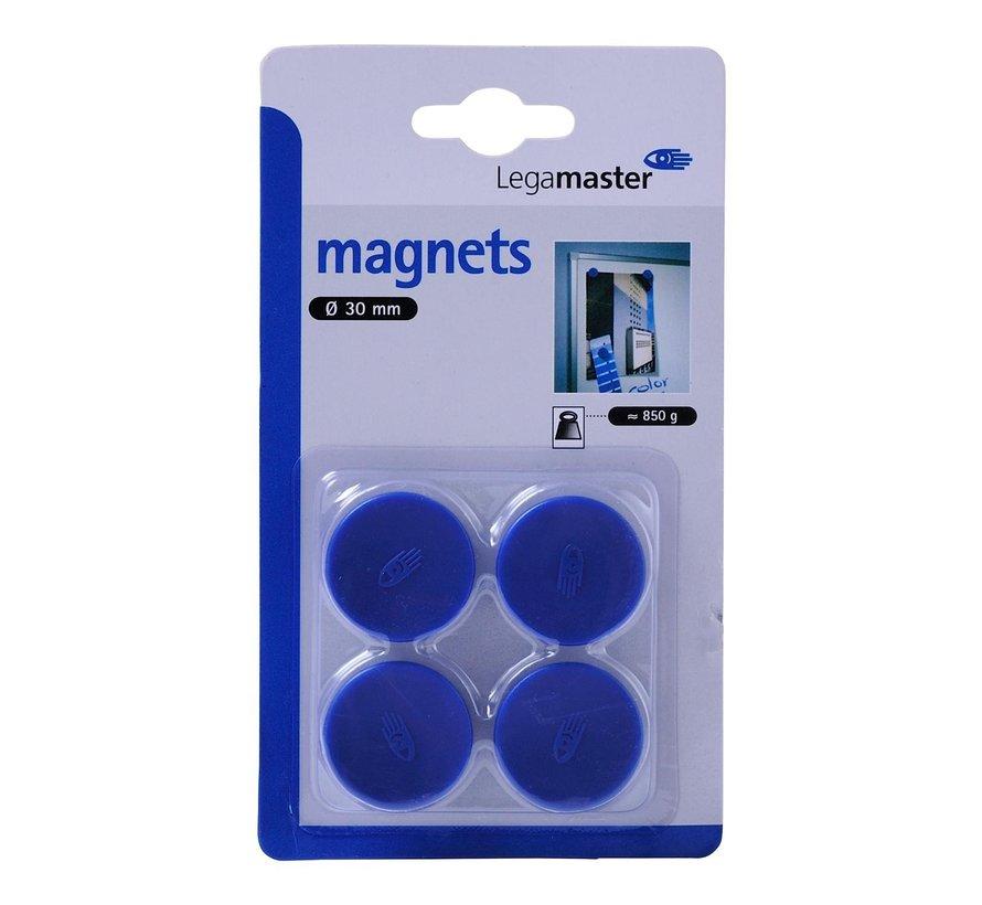 Legamaster Magneten blauw 30 mm, 4 stuks