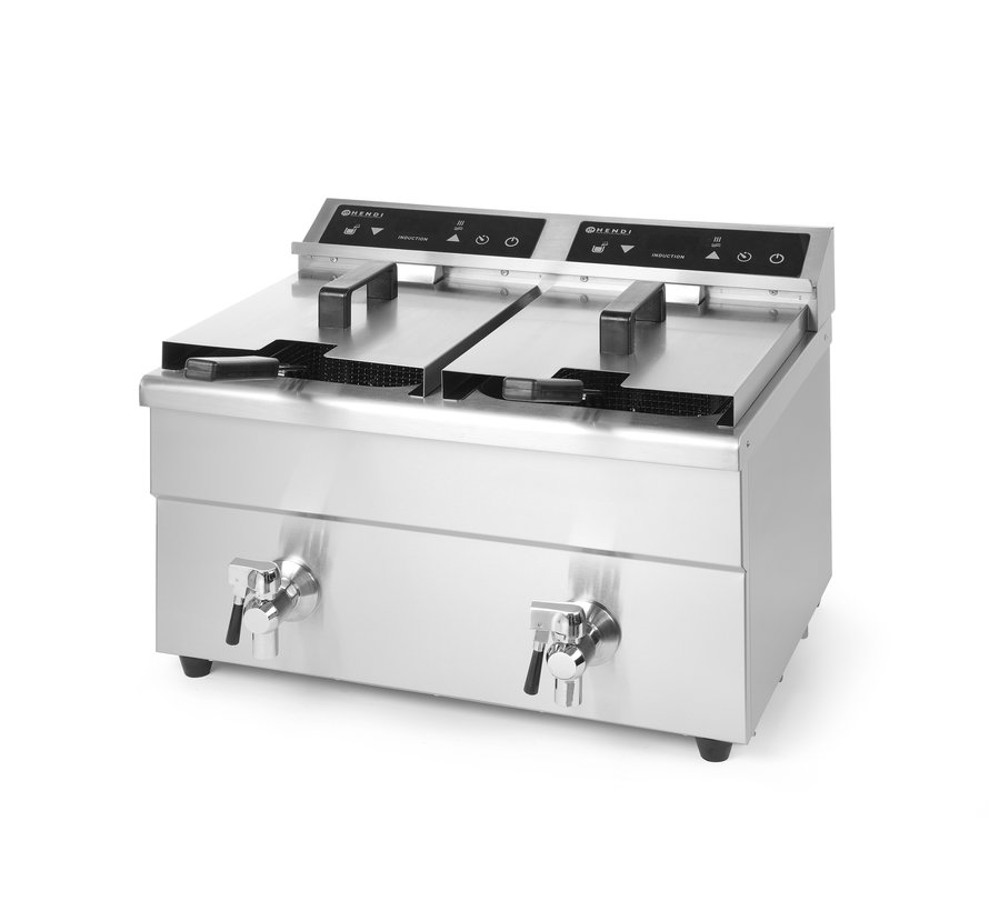 Hendi Inductie friteuse Kitchen Line - dubbel, 1 stuk