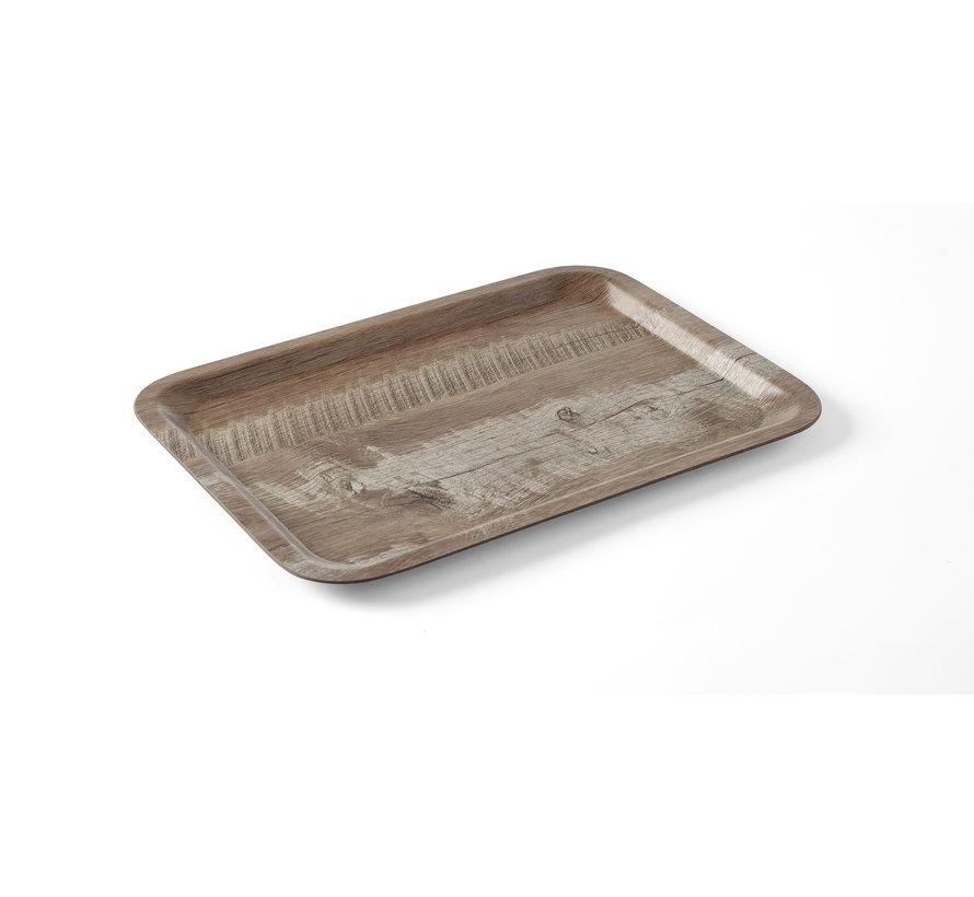 Hendi Dienblad van melamine met hout bedrukking, 1 stuk