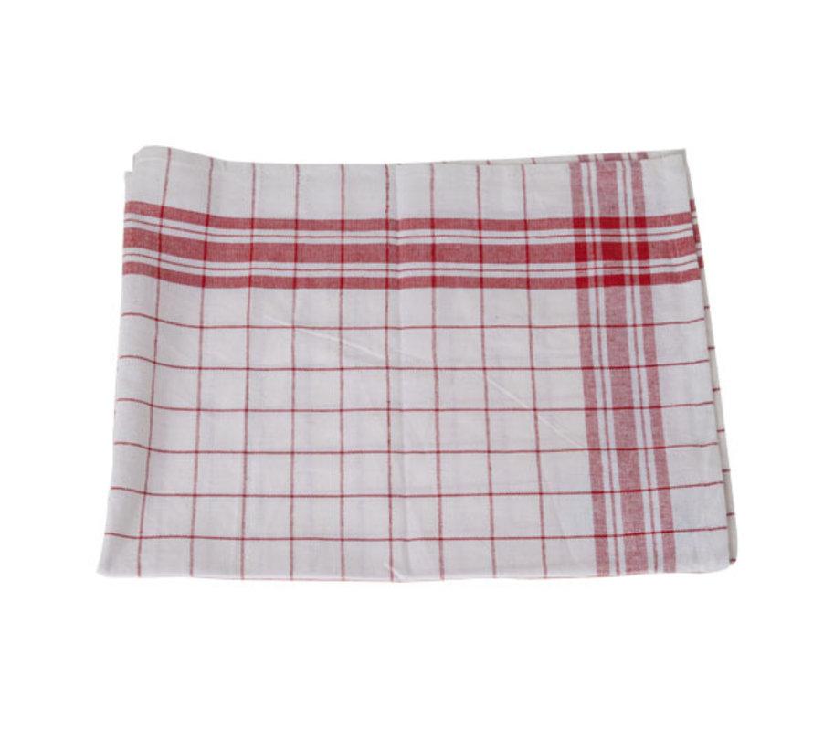 Cosy & Trendy Keukenhanddoek set6 grove ruit rood-wit, 6 stuks