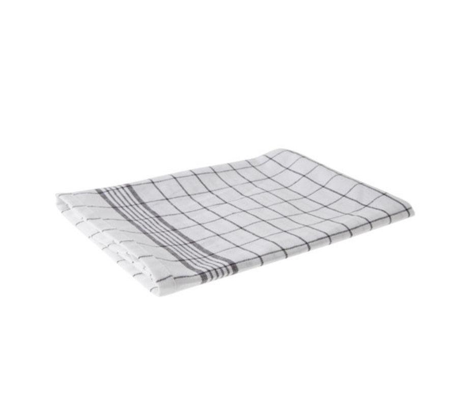 Cosy & Trendy Keukenhanddoek set6 grove ruit grijs-wit, 6 stuks