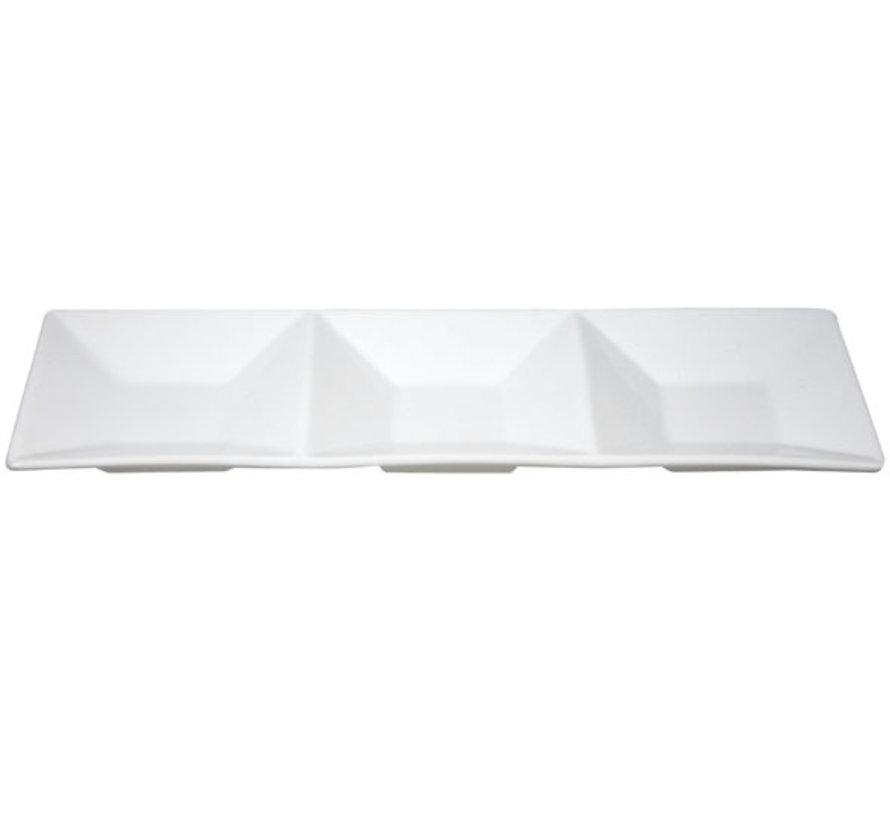 Cosy & Trendy Apero schaal wit 11x34,5cm 3 vakjes, 6 maal 1 stuk