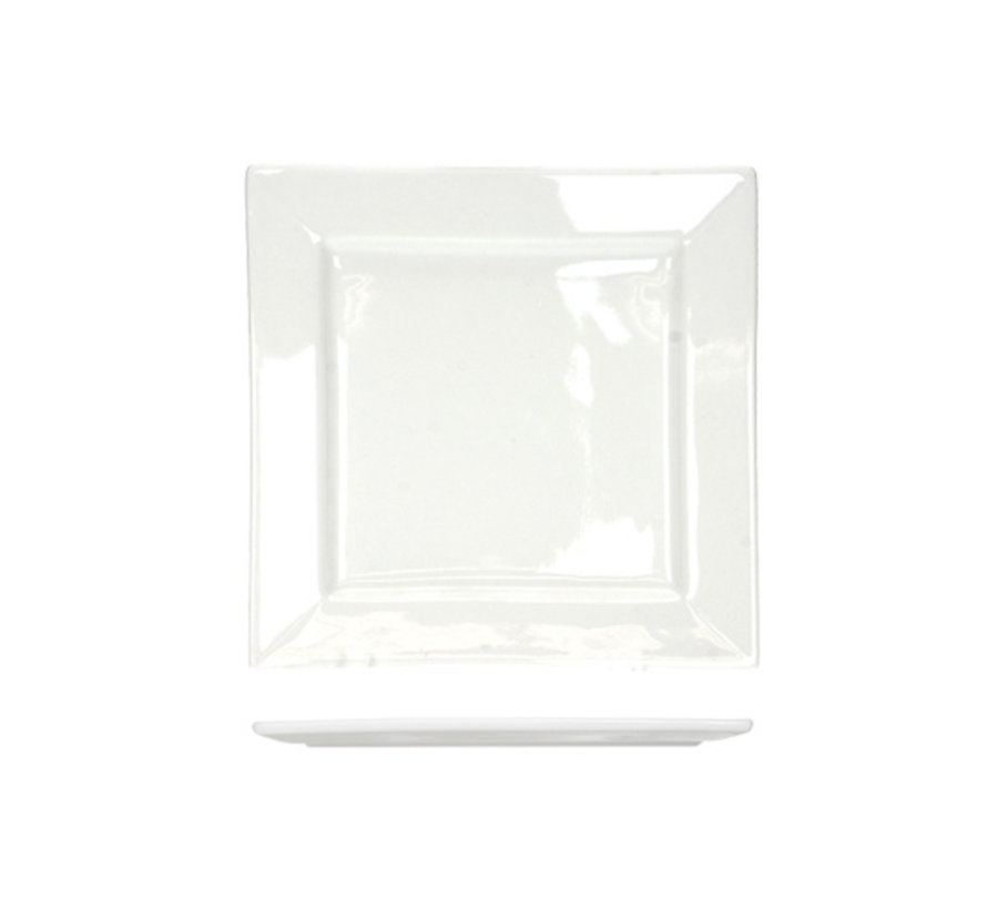 Cosy & Trendy Napoli witte broodbordje 13x13cm vierkan, 6 maal 1 stuk