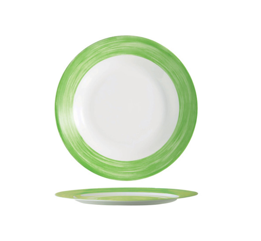 Arcoroc Brush plat bord groen 25,4cm horeca, 6 maal 1 stuk