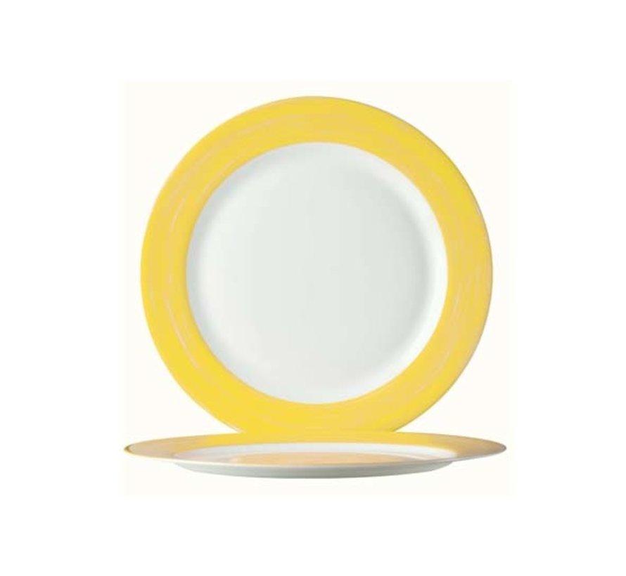 Arcoroc Brush geel plat bord 23,5 cm, 6 stuks