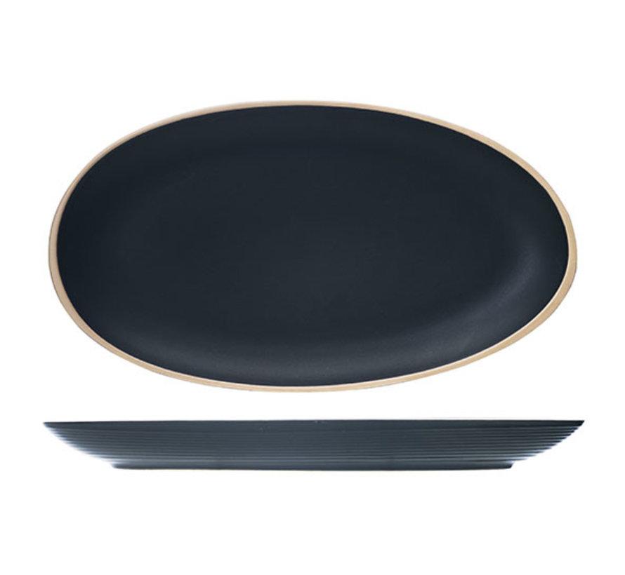 Cosy & Trendy Galloway zwarte ovale schotel 29,5x16cm, 6 maal 1 stuk