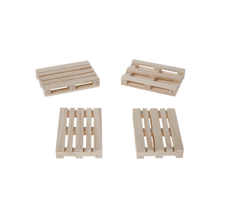 Cosy & Trendy Pallet mini 8x12x2cm s4 hout, 4 stuks