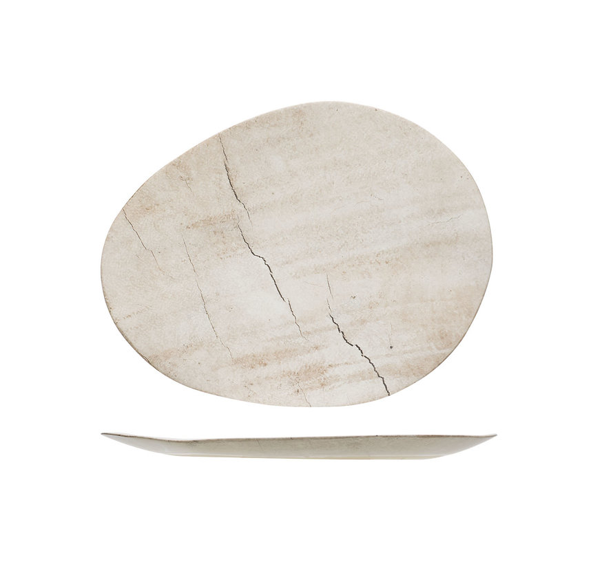 Cosy & Trendy Lithos bord ovaal 31,8x25xh2cm, 1 stuk