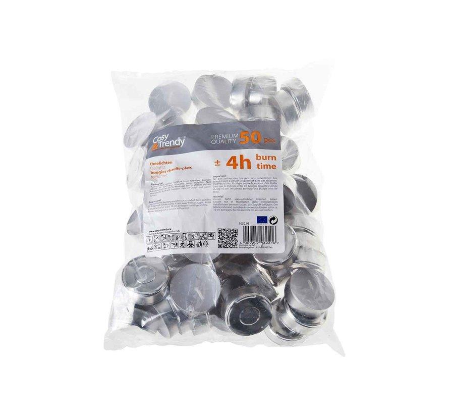 Cosy & Trendy Theelicht 4h wit met huls, 50 stuks