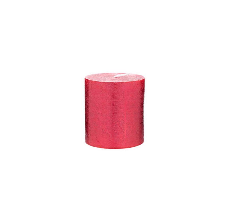 Cosy & Trendy Rustic cylinderkaars metallic rood 8cm, 1 stuk