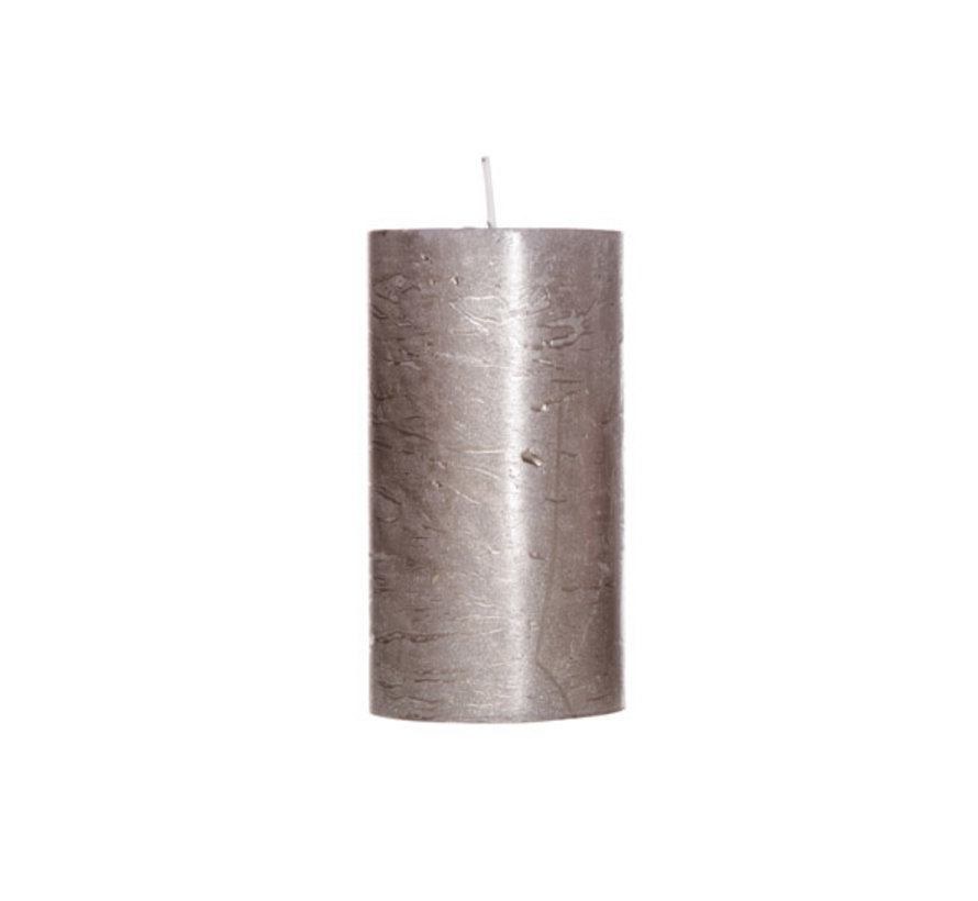 Cosy & Trendy Rustic cylinderkaars metallic bruin 13cm, 1 stuk