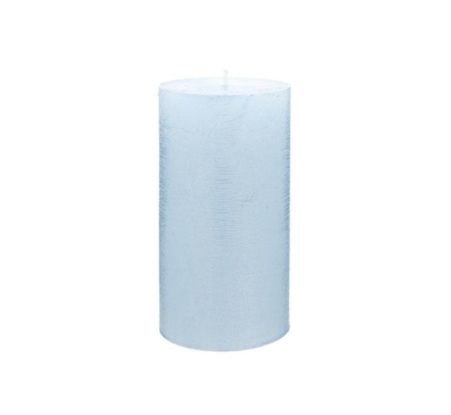 Cosy & Trendy Rustic cylinderkaars metallic ijsblauw, 1 stuk