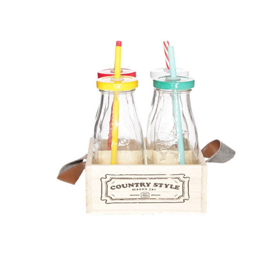 Cosy & Trendy Country style fles m.rietje s4 metbakje, 1 stuk