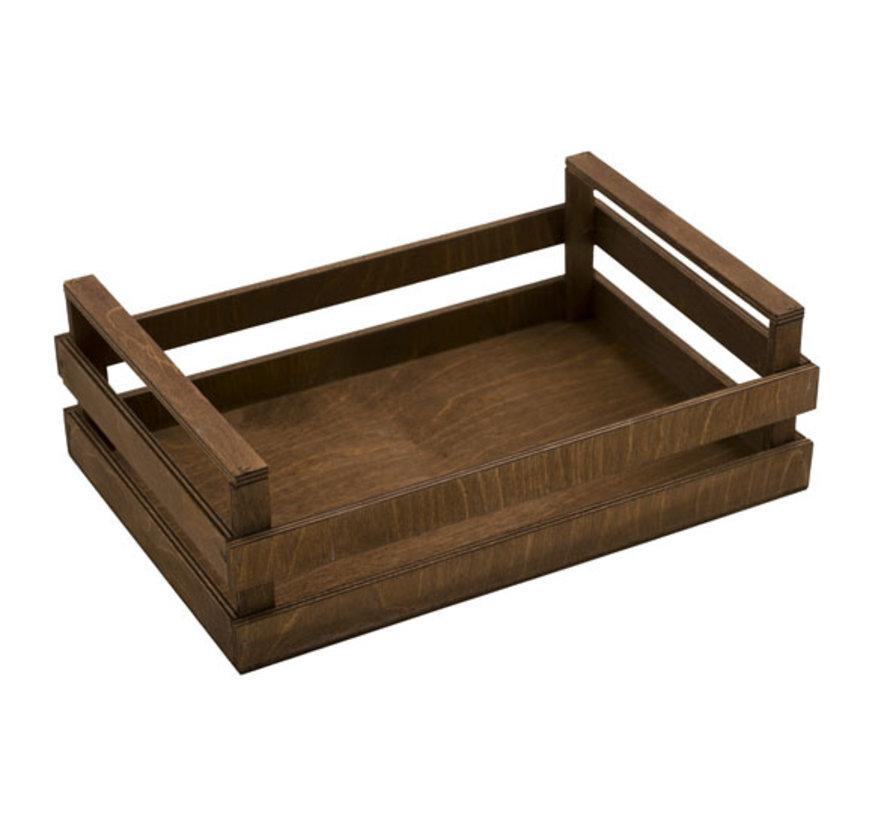 Bisetti Krat bruin houten box m 25x18x10cm, 1 stuk