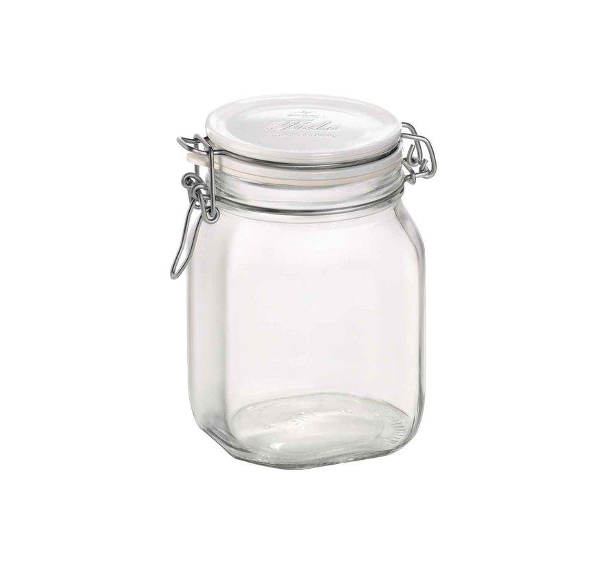 Bormioli Fido inmaakbokaal 1l wit deksel, 1 stuk