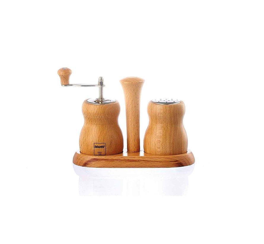 Bisetti Cuneo set pepermolen-zoutstrooier natur., 1 stuk