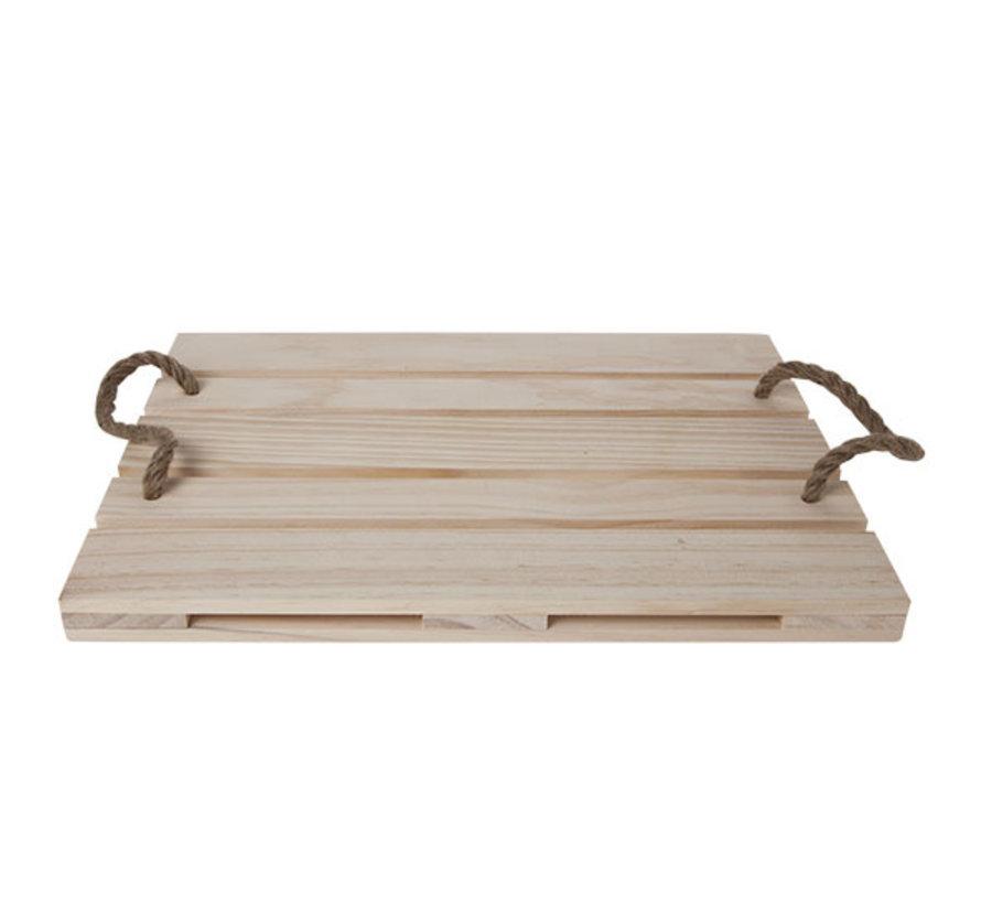 Cosy & Trendy Pallet serveer 38x28x2,5 hout met touw, 1 stuk