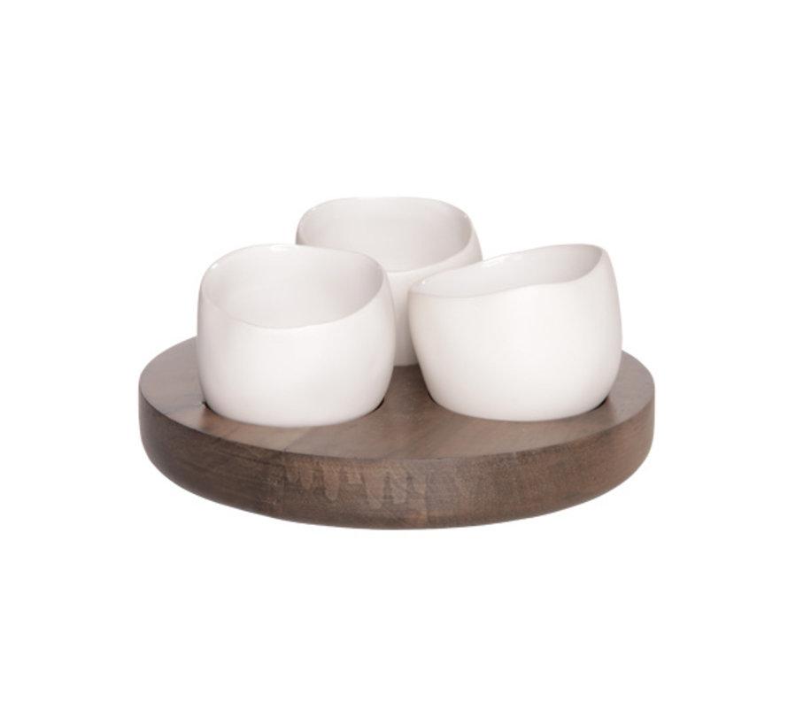 Cosy & Trendy Bao aperoset basis hout - 3 potjes wit, 1 stuk