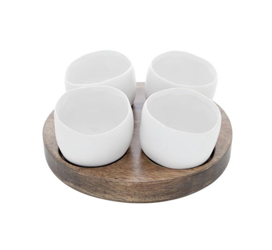 Cosy & Trendy Bao aperoset basis hout - 4 potjes wit, 1 stuk