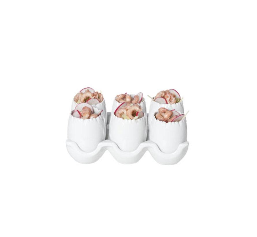 Cosy & Trendy Aperoset houder met 6 potjes ei-vorm, 1 stuk