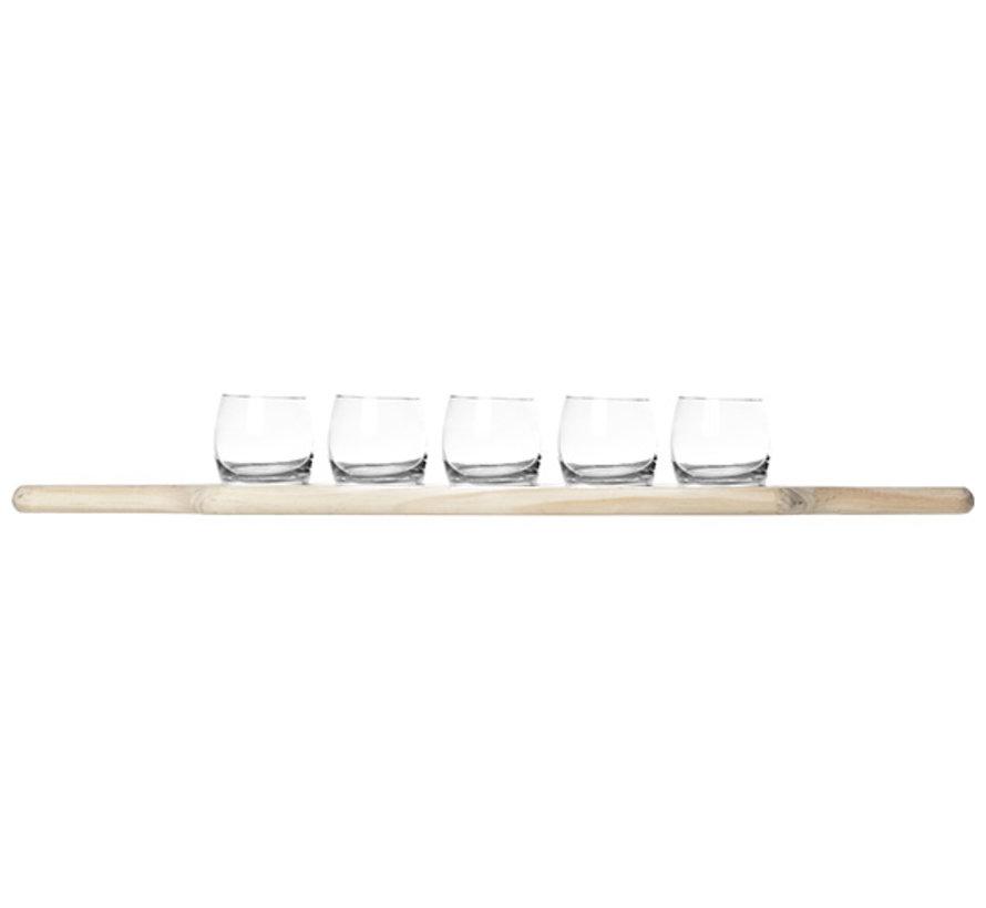Cosy & Trendy Aperoset 5 glazen 1 houten plankje, 1 stuk