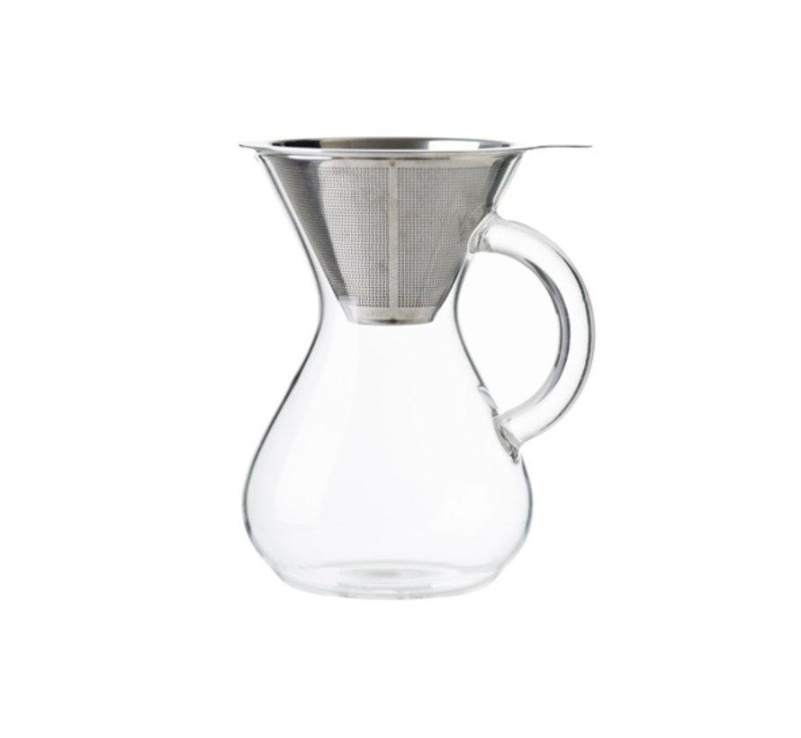 Cosy & Trendy Koffiekan glas - filter rvs - 300 cl, 1 stuk