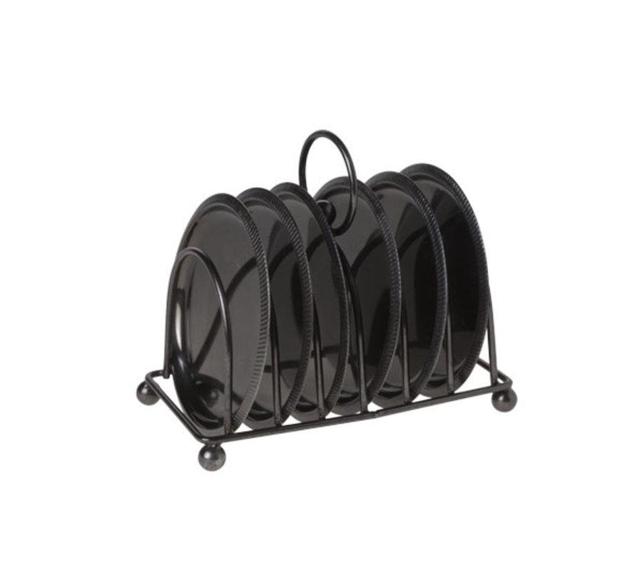 Cosy & Trendy S7 houder met 6 onderzetters zwart 10cm, 7 stuks