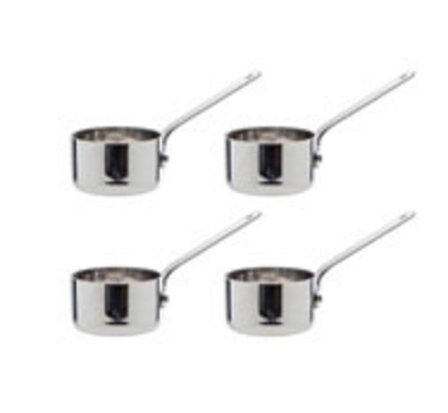 Cosy & Trendy Mini sauspan d5cm roestvrij staal, 4 stuks