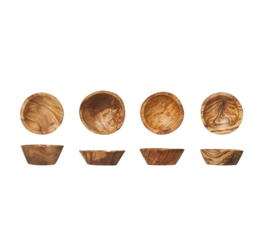 Cosy & Trendy Kommetjes d6-7cm olijfhout, 4 stuks