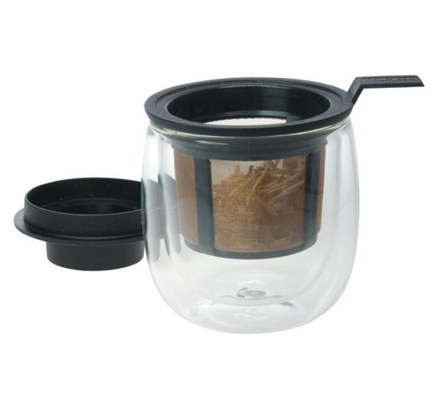 Glas dubbel wandig en filter en deksel zwart 130ml, 1 stuk