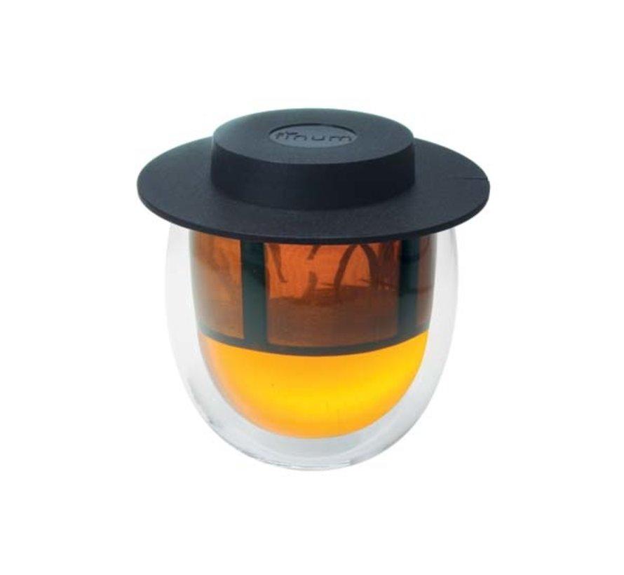 Finum glas dubbelwandig en filter en deksel zwart 200ml, 1 stuk