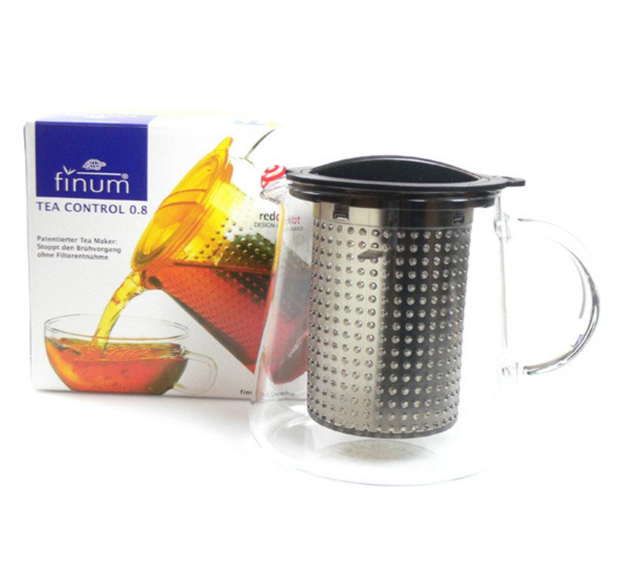 Theekan en filter zwart 0,8L tea control, 1 stuk