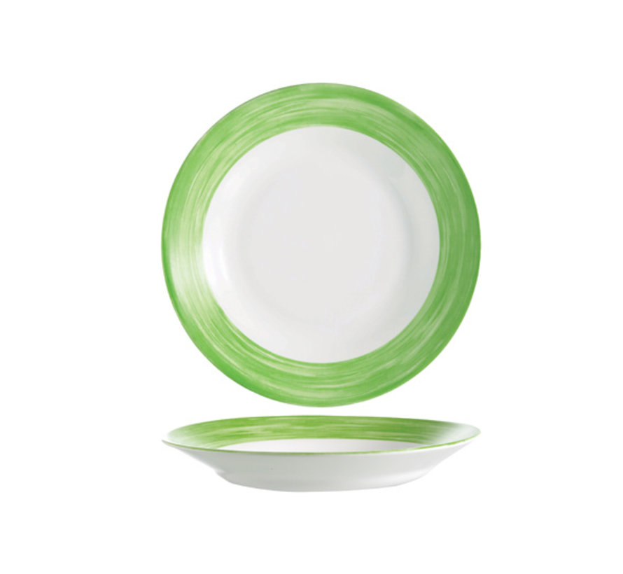 Arcoroc Brush diep bord groen 22,5cm, 1 stuk