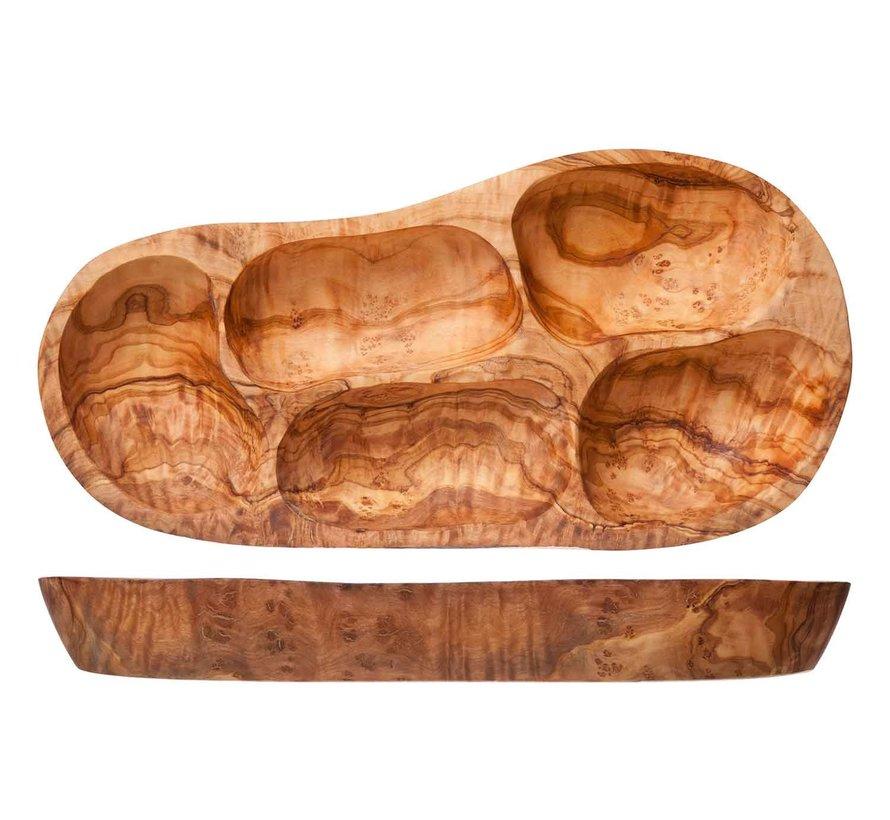 Cosy & Trendy Antipasti bord 3-6 secties olijfhout, 1 stuk