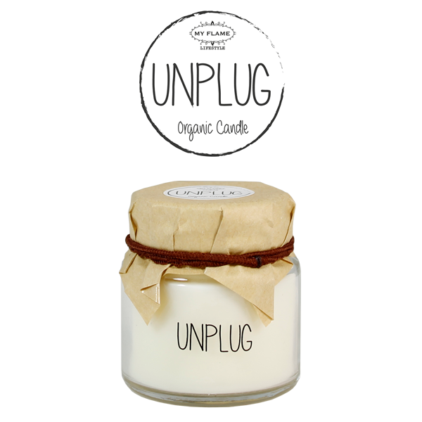 My Flame Lifestyle SOY CANDLE - UNPLUG - SCENT: FRESH COTTON