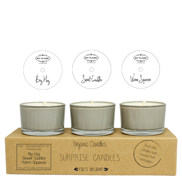 My Flame Lifestyle SURPRISE CANDLES - HUG, CUDDLES, SQUEEZE - FIG'S DELIGHT