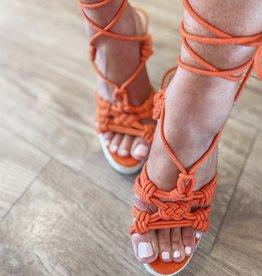 Orange wedge sandal