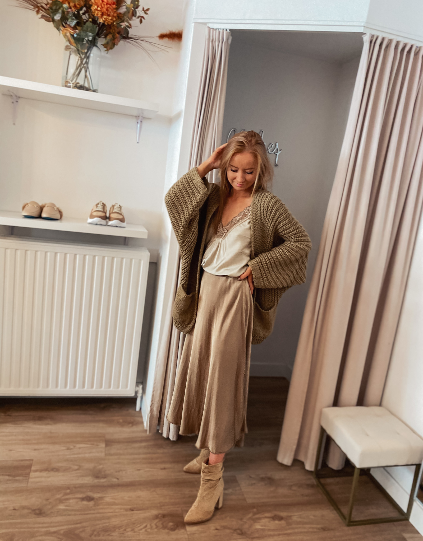 Satin Mid skirt - Camel TU