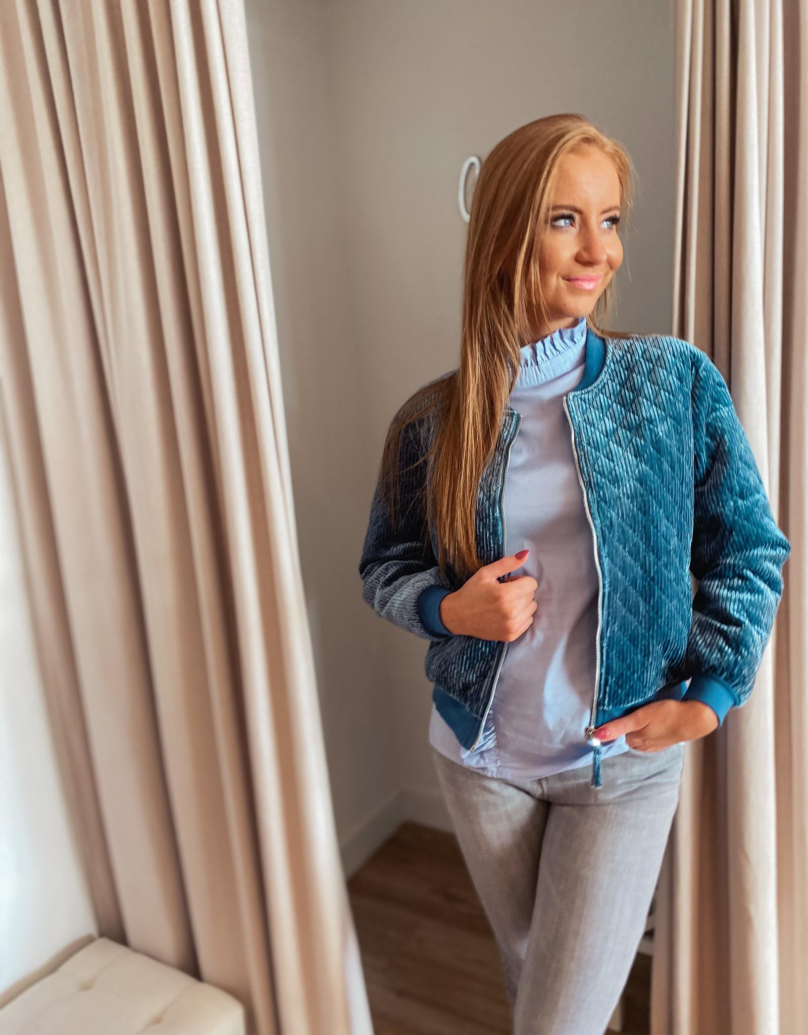 Rut and Circle Bomber Jacket blue