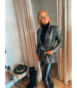 Leather Look Blazer - Khaki