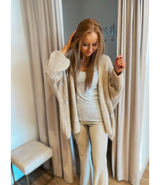 Knit detailed Cardigan - Sand