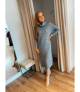 Turtleneck knit dress -  Grey