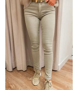 Skinny High Waist Jeans - Beige