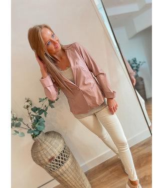 Leather Look Blazer - Pink