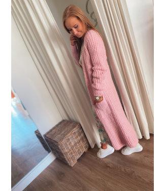Long Knit Cardigan - Soft Pink