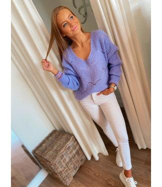 Knit V pullover - Lilac