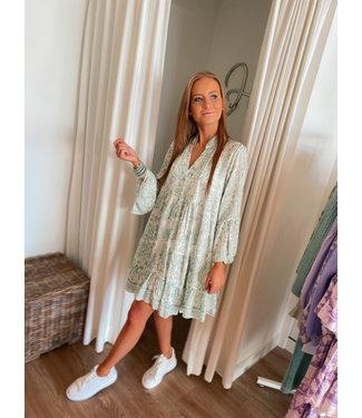 Printed Dress - Green/White