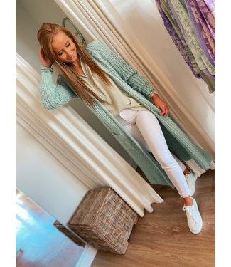 Long Knit Cardigan - Mint